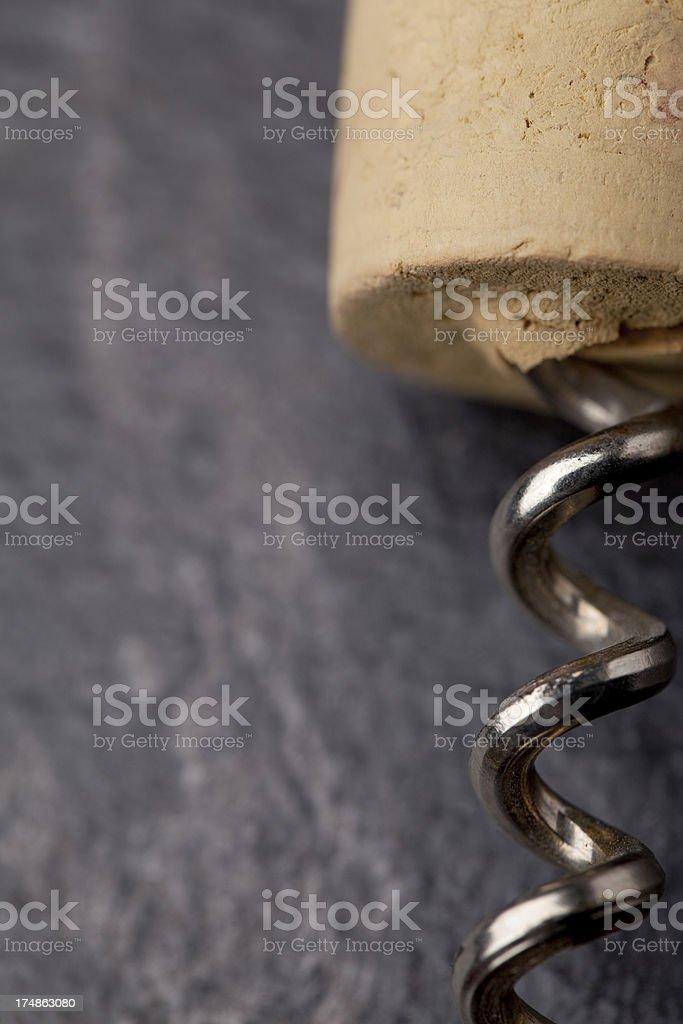 Cork and corkscrew royalty-free stock photo