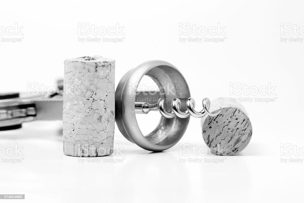 Cork and corkscrew stock photo