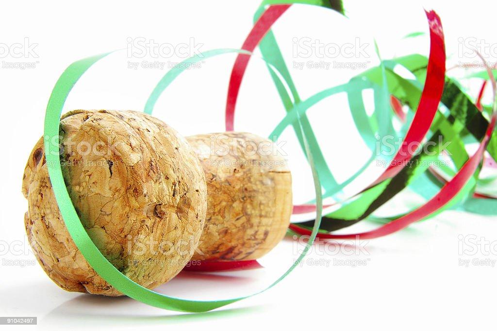 Cork and ribbon stock photo