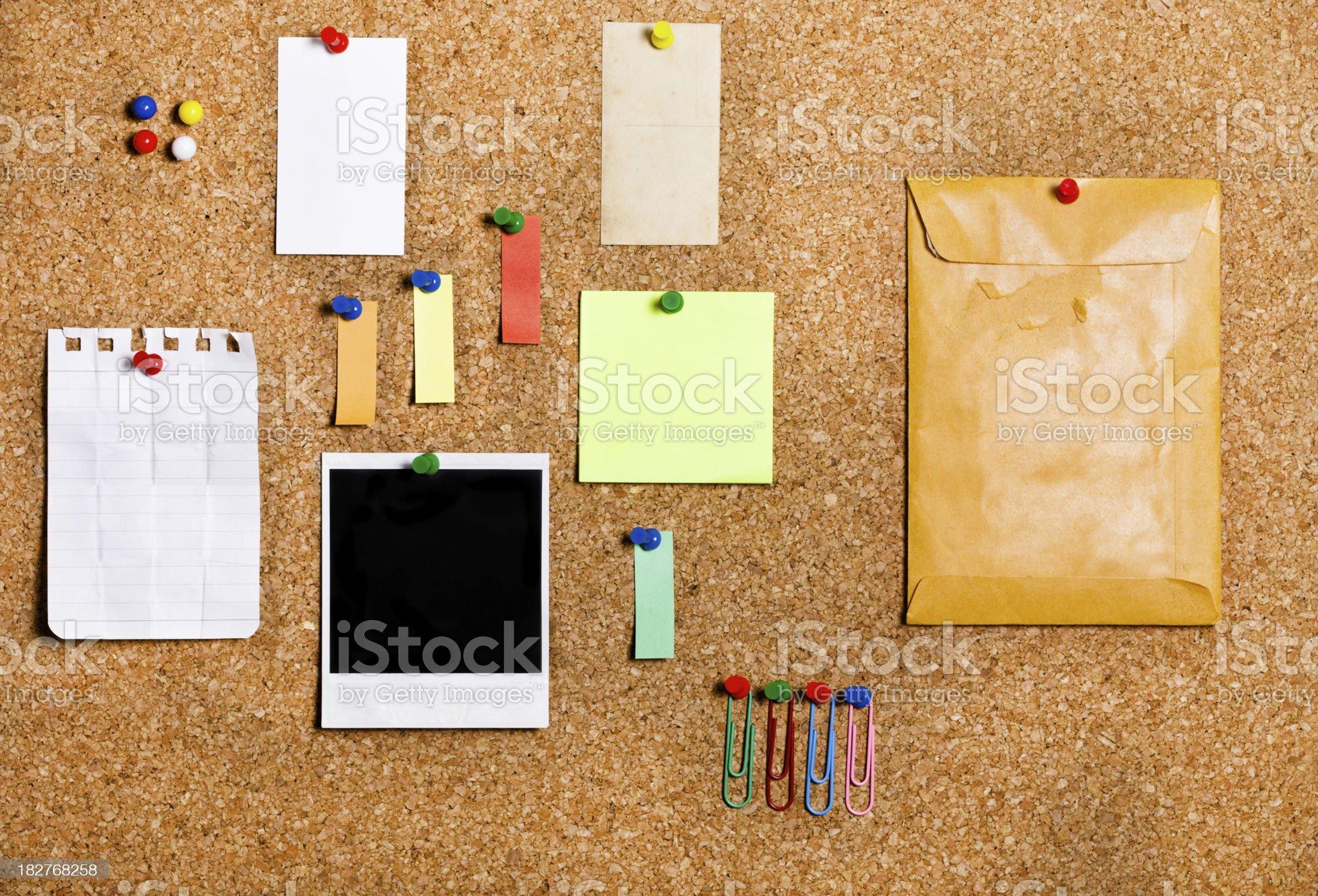 cork board items royalty-free stock photo