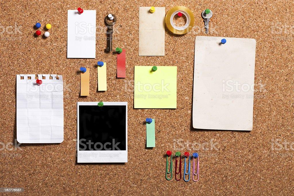 cork board items stock photo