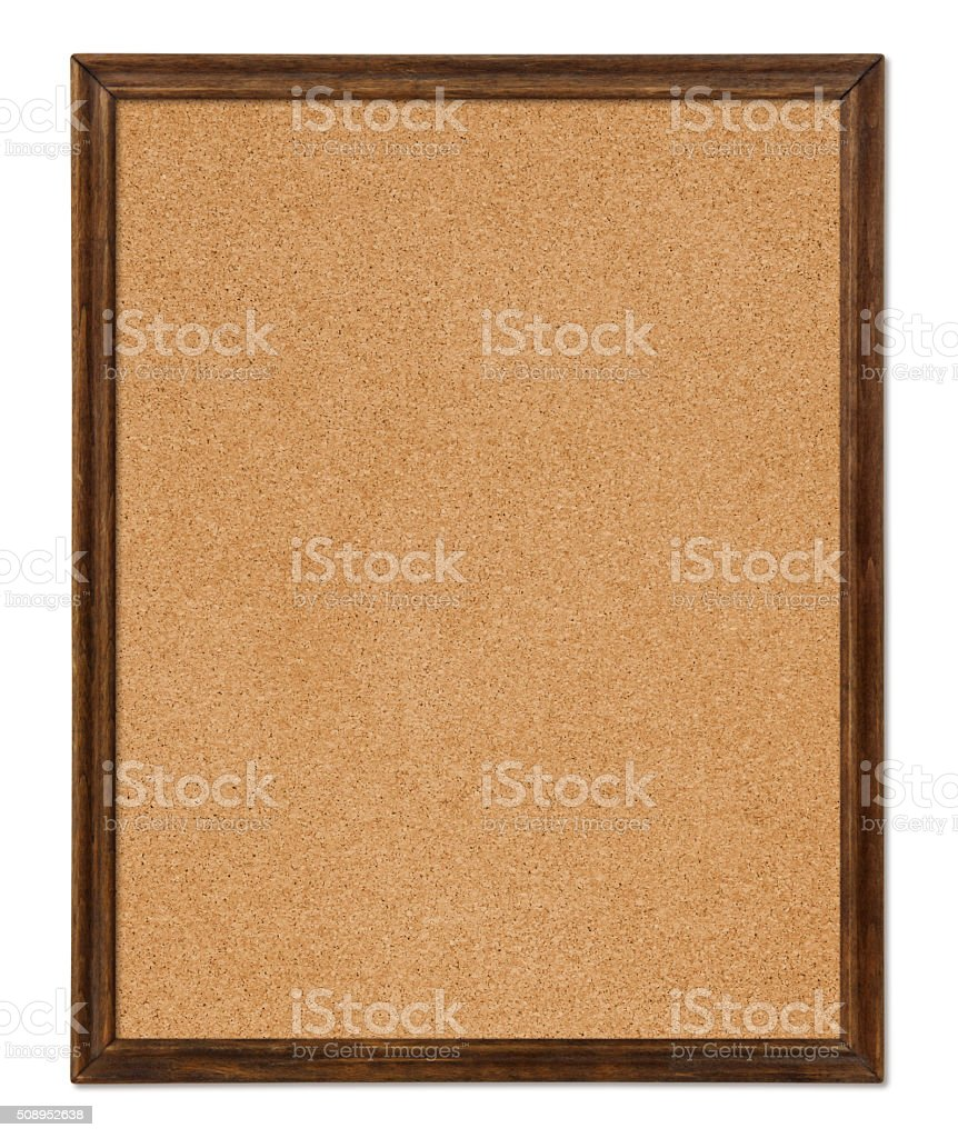 Cork Board with wood frame (with path) stock photo