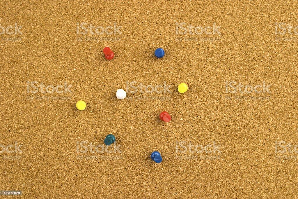 Cork Bord w/ Push Pins royalty-free stock photo