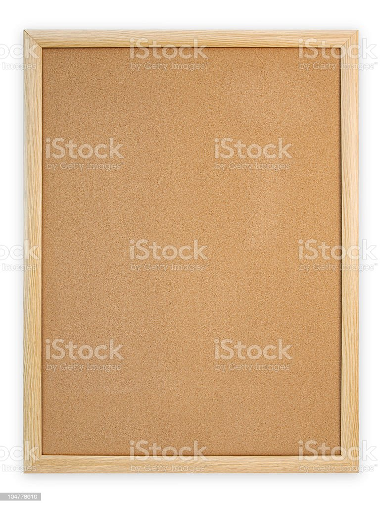 Cork bulletin board on a white background royalty-free stock photo