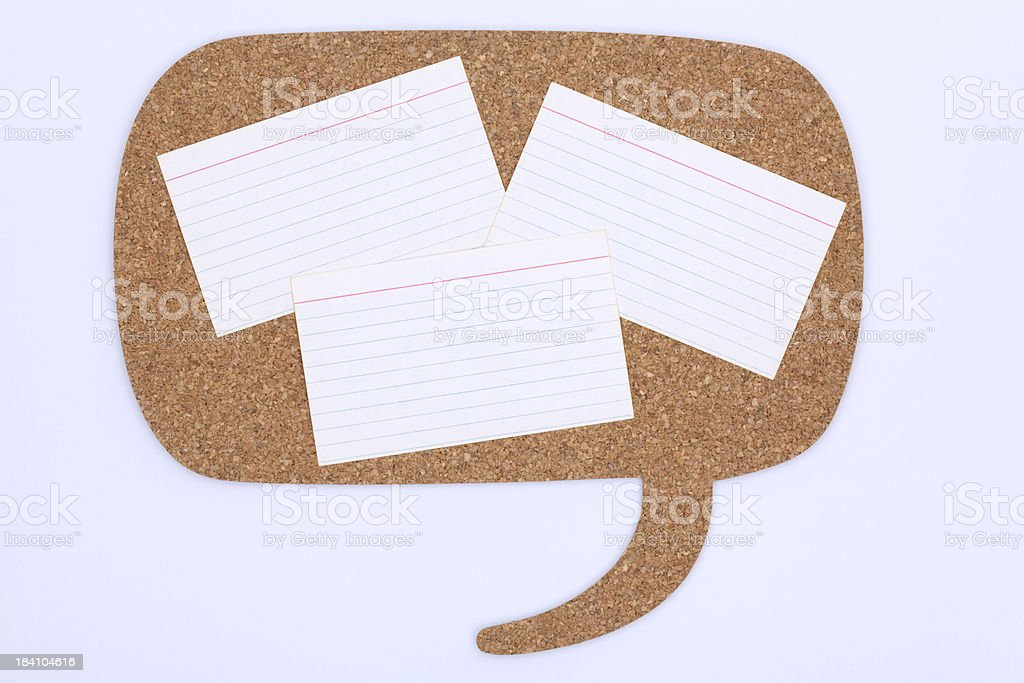Cork Bulletin Board & Recipe Index Cards stock photo