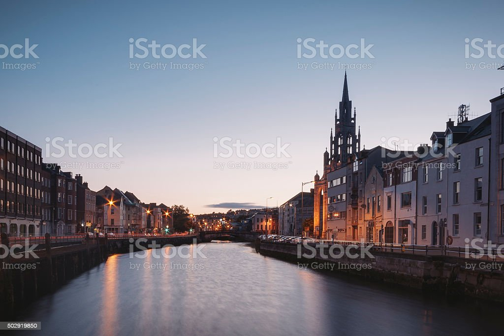Cork City at Night stock photo