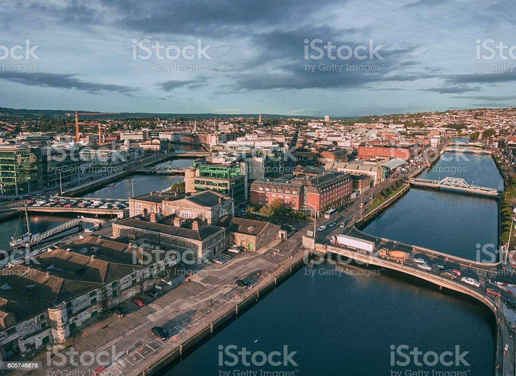 Cork city center in Ireland aerial view stock photo