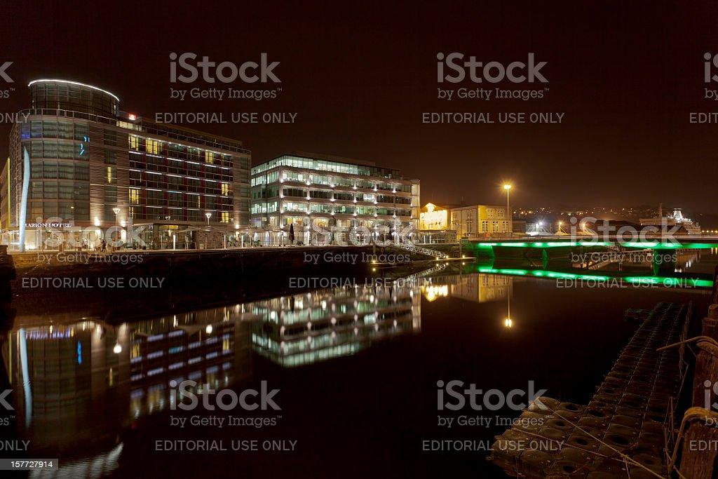 Cork City waterfront at night royalty-free stock photo