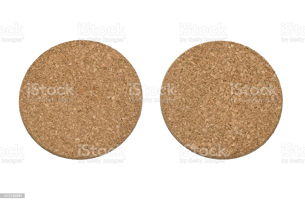 Cork coaster in round on white background stock photo