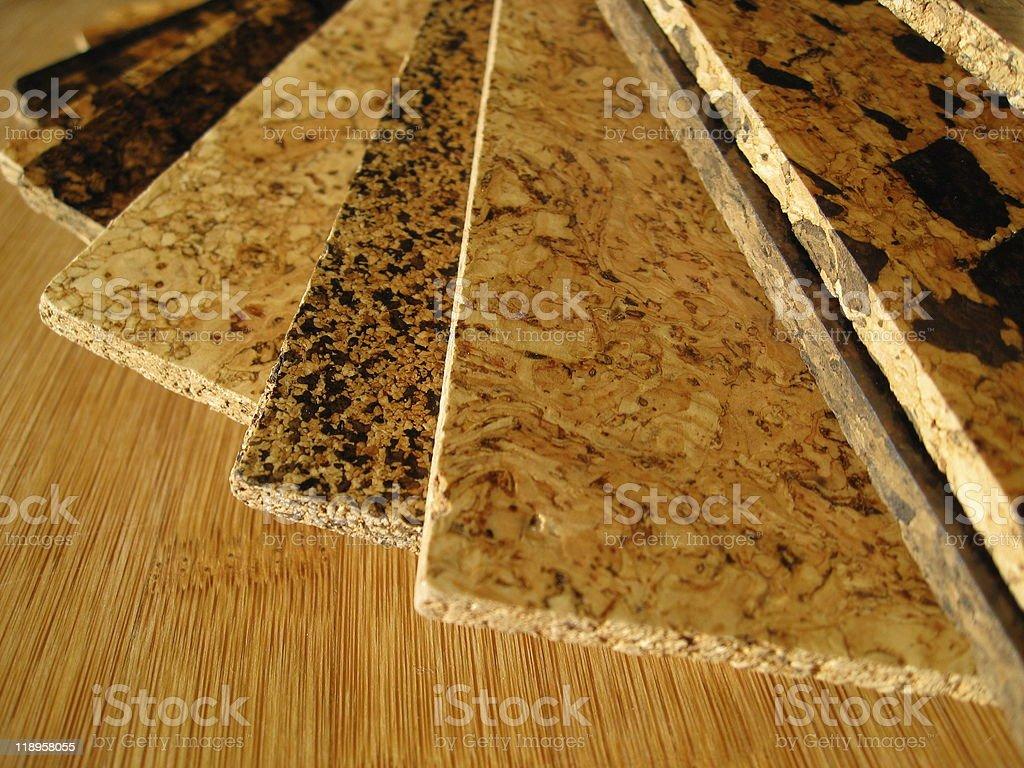 Cork Flooring Swatches royalty-free stock photo