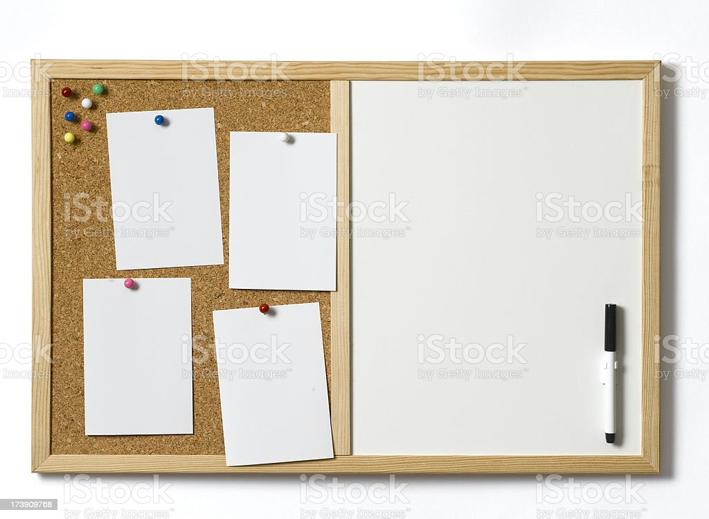 cork pin and white board royalty-free stock photo