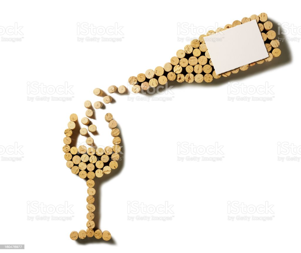 Cork Pouring Wine Bottle and Glass stock photo