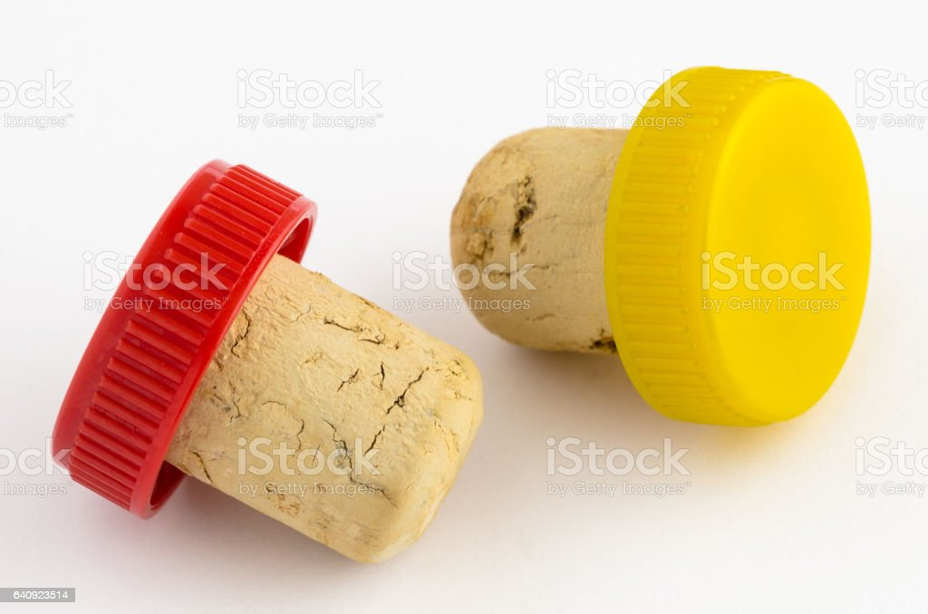 Cork Stoppers on white Background stock photo