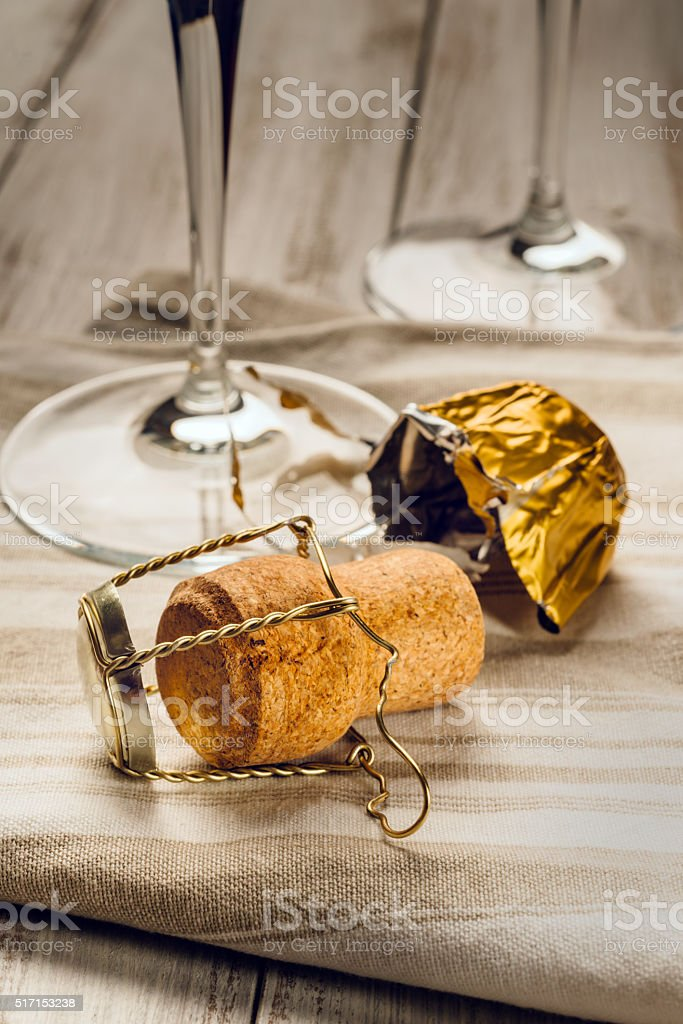 cork, wine glasses on the table stock photo