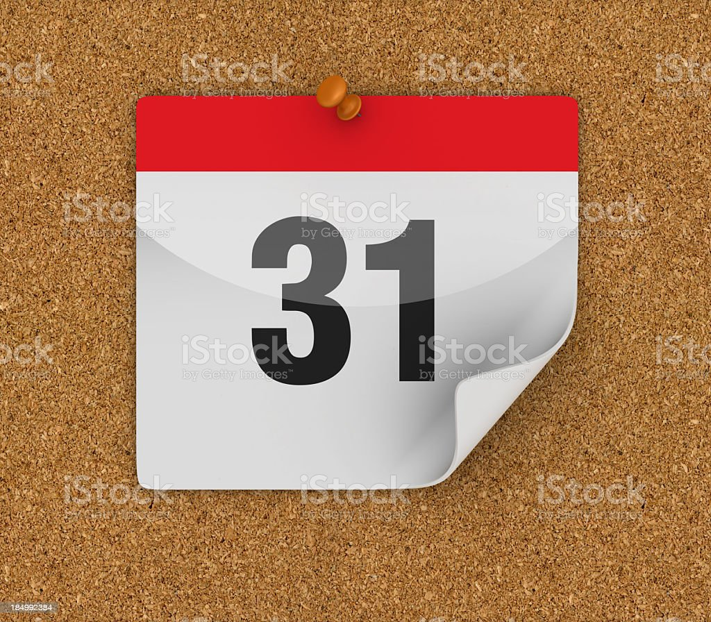 Corkboard with Calendar Day 31 royalty-free stock photo