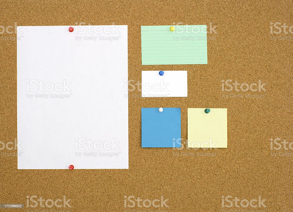Corkboard With Pinned Bulletins royalty-free stock photo