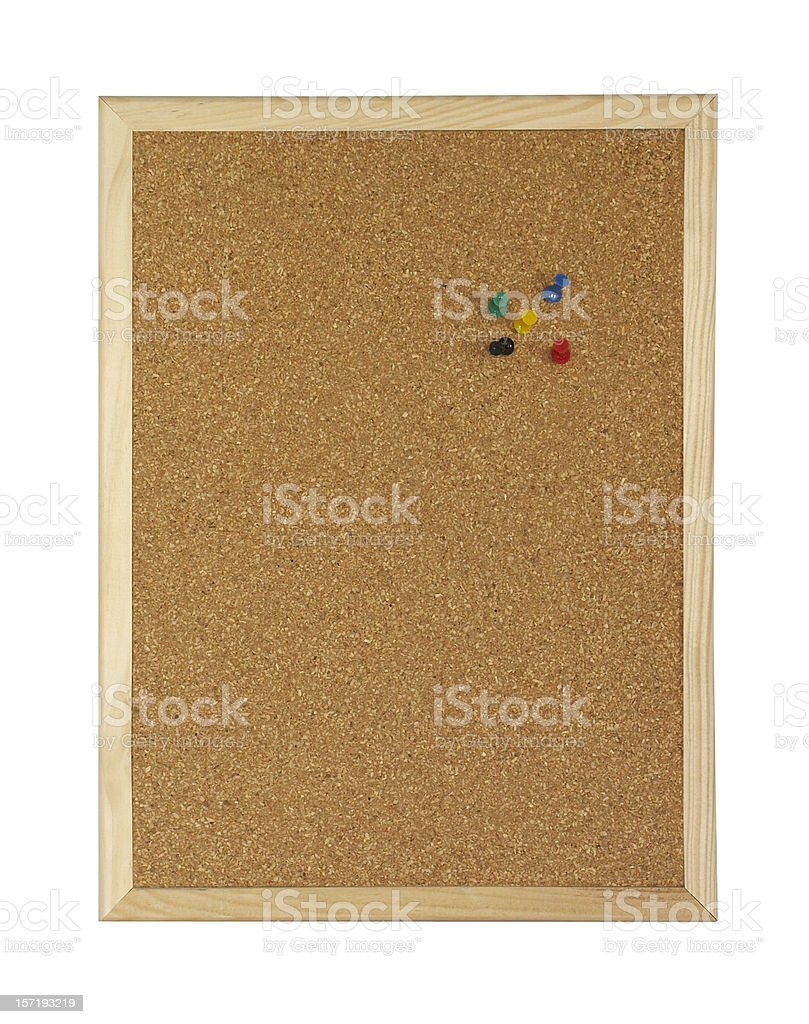 Corkboard with pins (clipping path), isolated on white background royalty-free stock photo