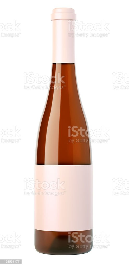 Corked bottle of white wine or brandy with blank label royalty-free stock photo