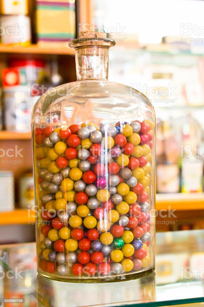 Corked Bottle with Chewing Gums stock photo