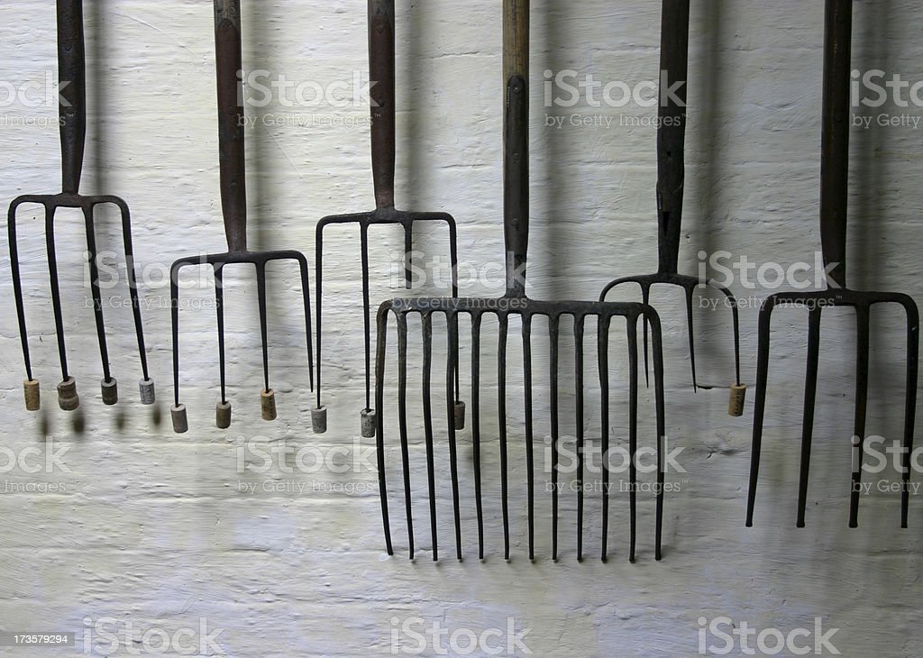 corked forks still life stock photo