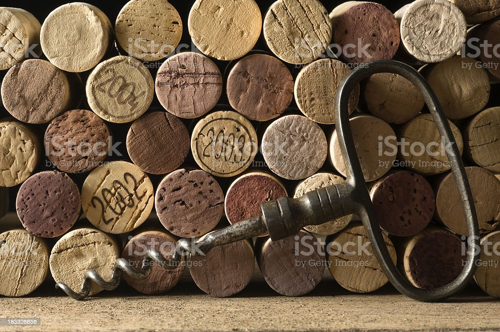 Corks and corkscrew stock photo