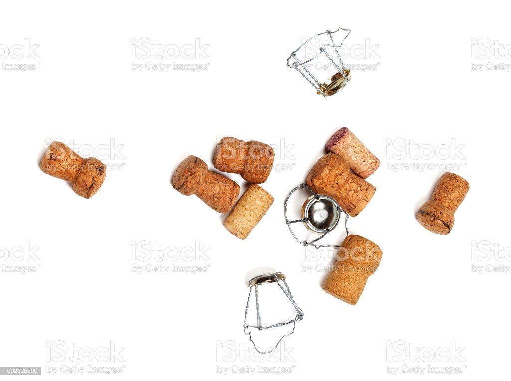 Corks from champagne wine and muselets stock photo