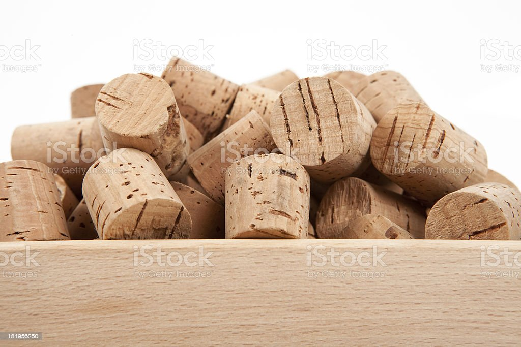 corks in a box stock photo