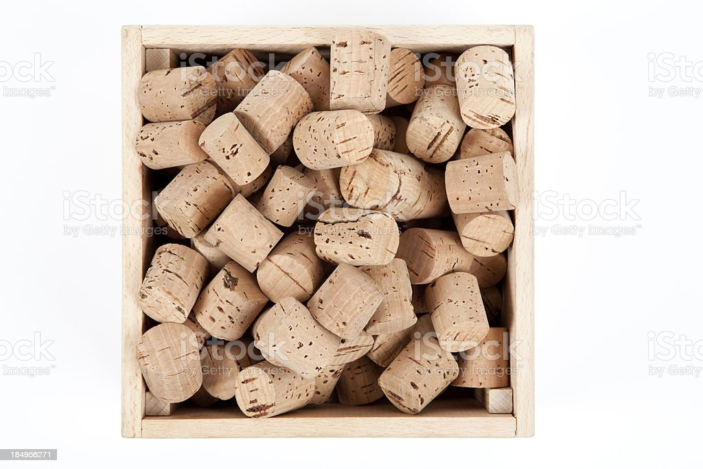 corks in a box royalty-free stock photo