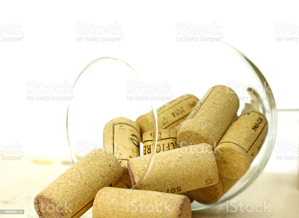 Corks in a glass stock photo