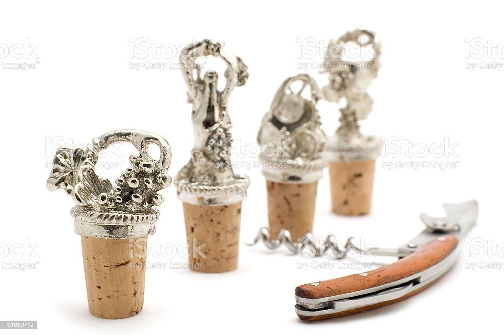 corkscrew and stopper macro royalty-free stock photo