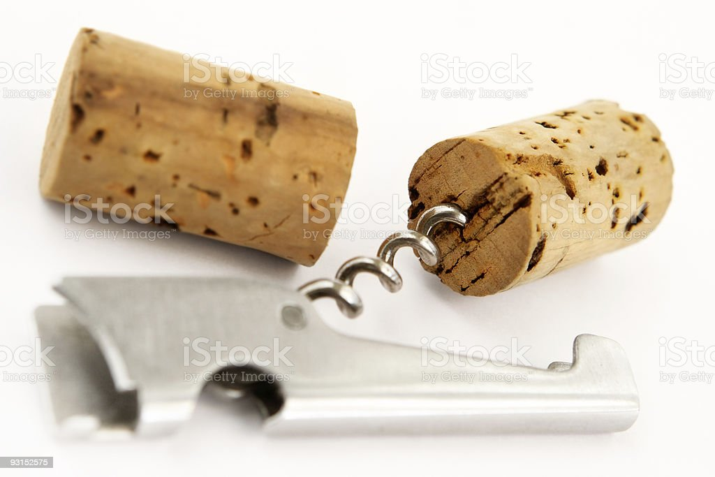 Corkscrew and wine fuses royalty-free stock photo