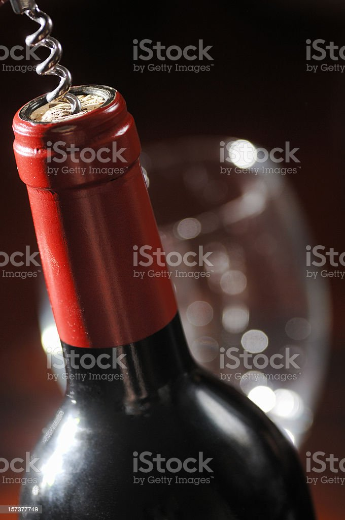 corkscrew in wine bottle royalty-free stock photo