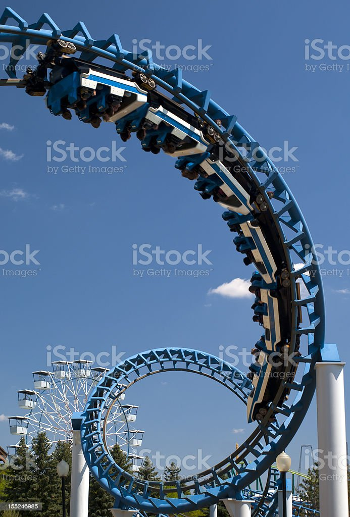Cork-screw Rollercoaster stock photo