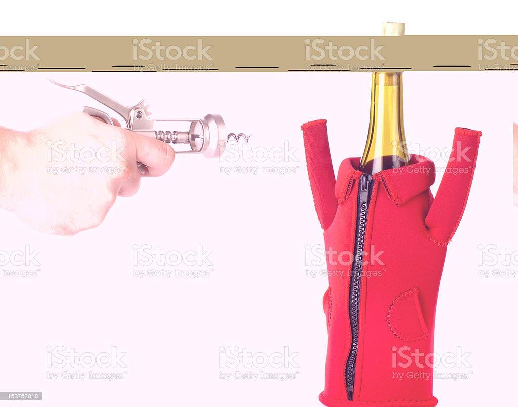 corkscrew target on the wine bottle stock photo