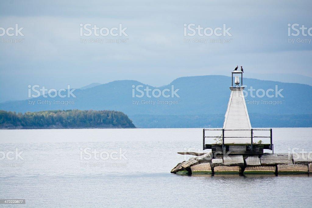 Cormorants on the lighthouse near Burlington, Vermont stock photo