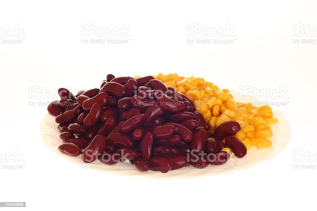 corn and baked beans on plate royalty-free stock photo