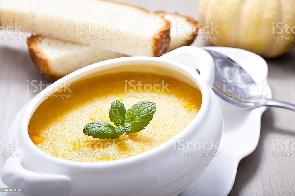 corn and pumpkin soup stock photo