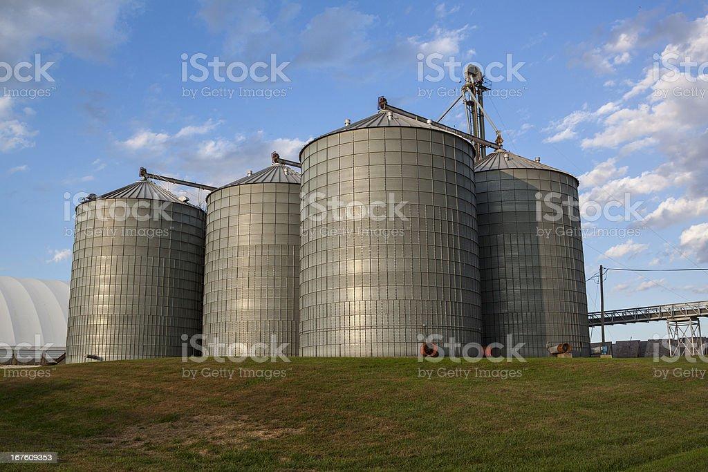 Corn and soybean grain storage bins royalty-free stock photo