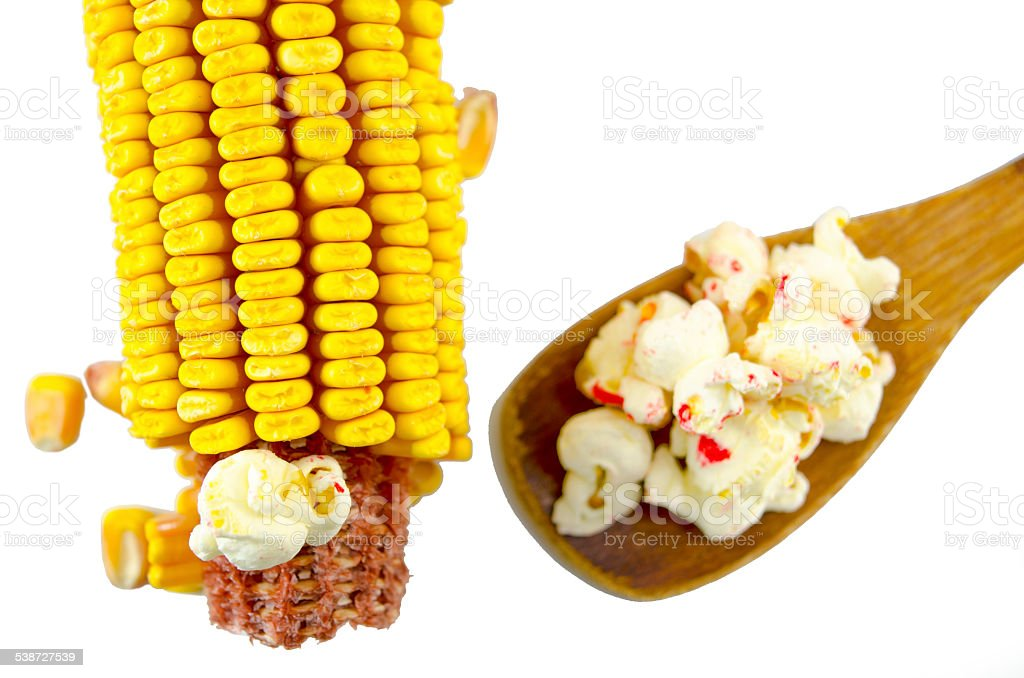 Corn and spoon with popcorns isolated royalty-free stock photo