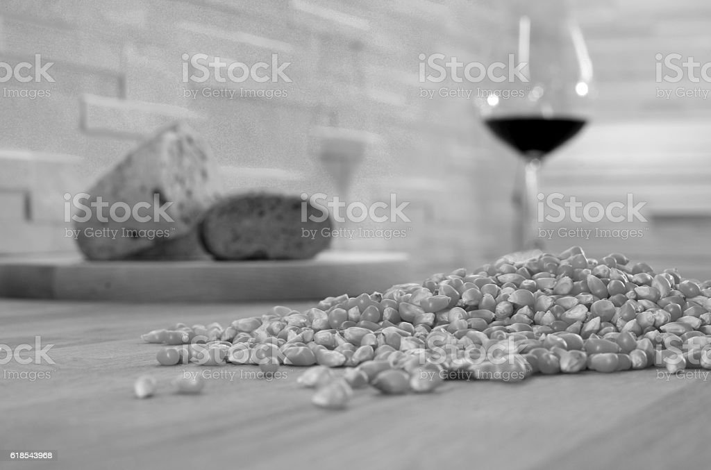 corn and wine on a kitchen worktop stock photo