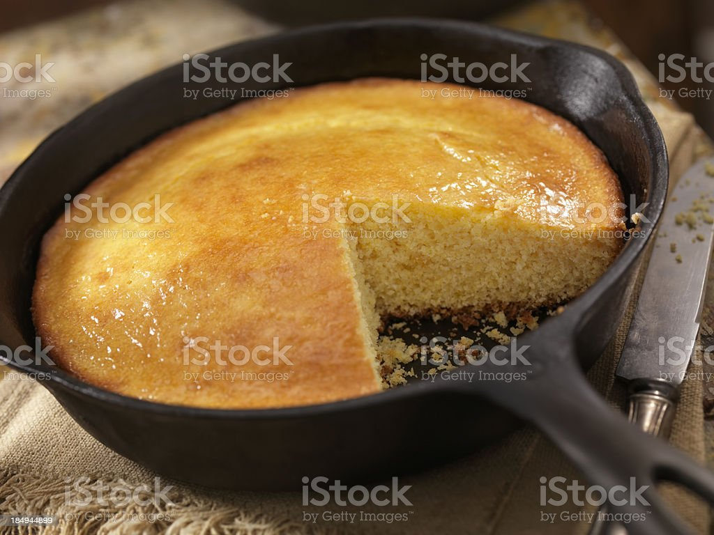 Corn Bread in a Cast Iron Skillet royalty-free stock photo