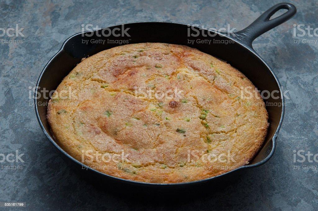 Corn bread in cast iron skillet stock photo