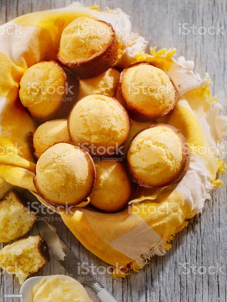 Corn Bread Muffins in a Basket stock photo
