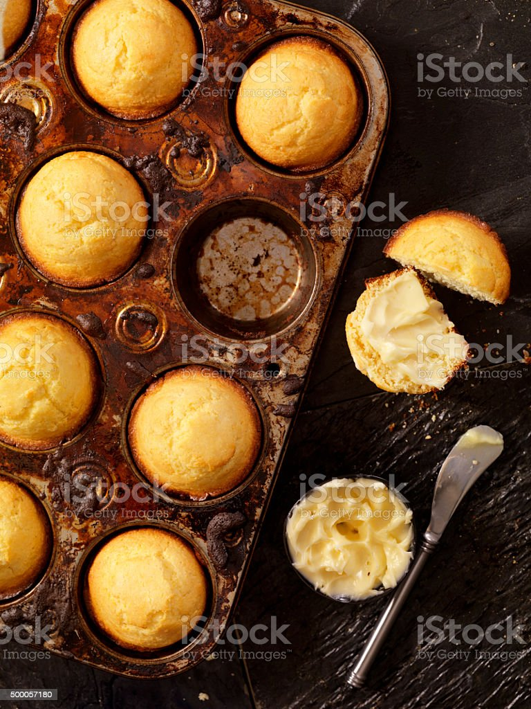Corn Bread Muffins in Baking Tin stock photo