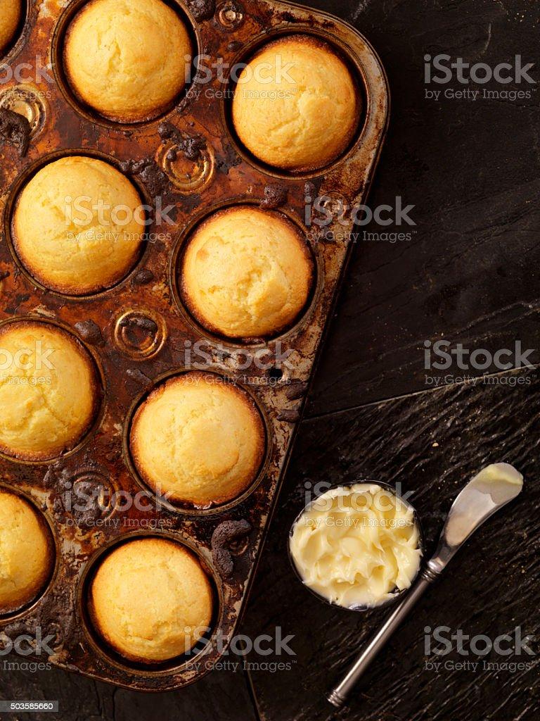 Corn Bread Muffins in Baking Tin stock photo