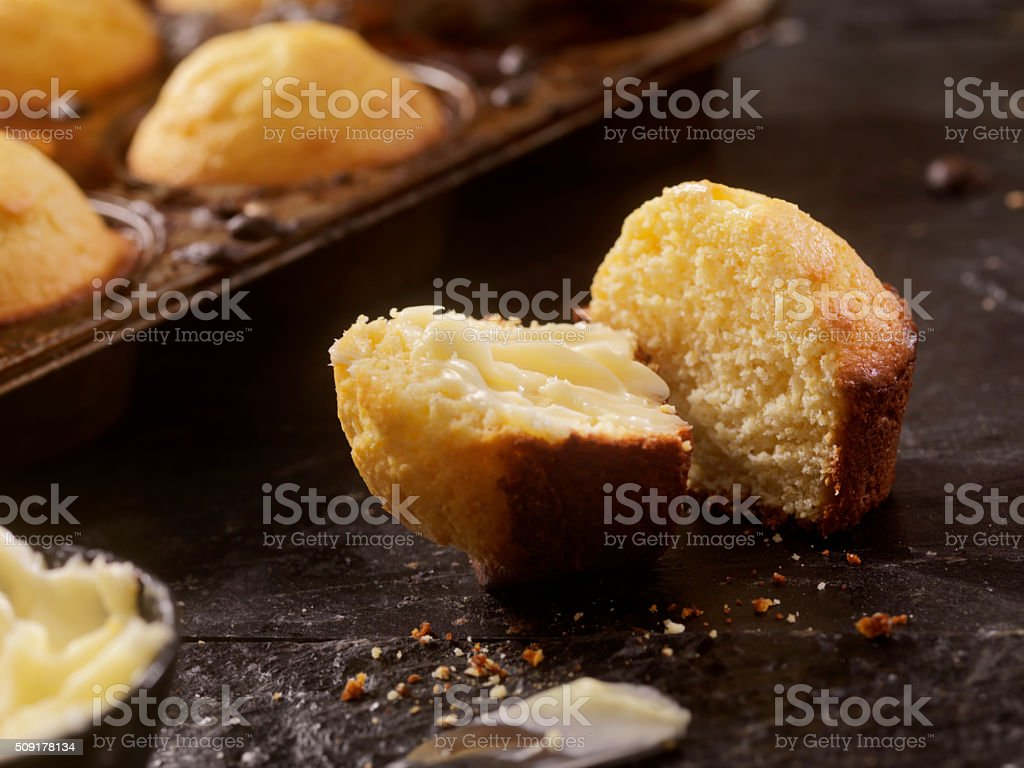 Corn Bread Muffins With Butter stock photo