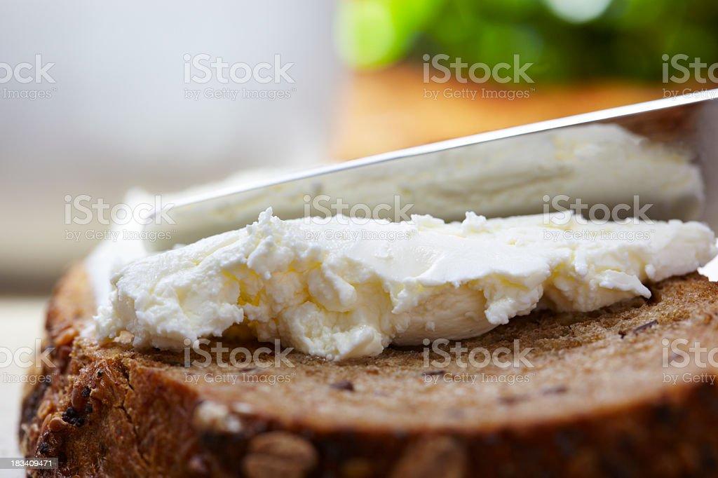 Corn bread with cream cheese stock photo