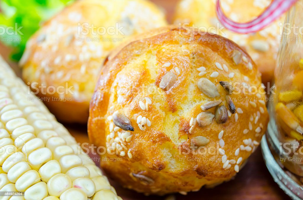 Corn bread with sesame and corn royalty-free stock photo