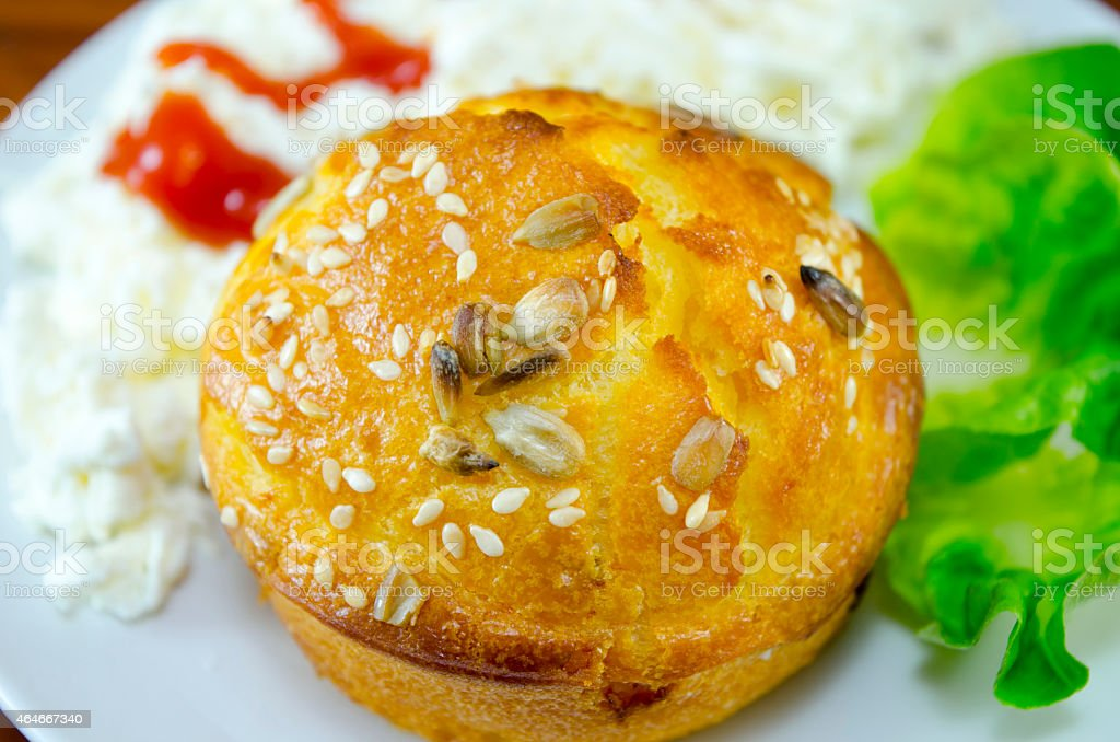 Corn bread with sesame on a plate royalty-free stock photo