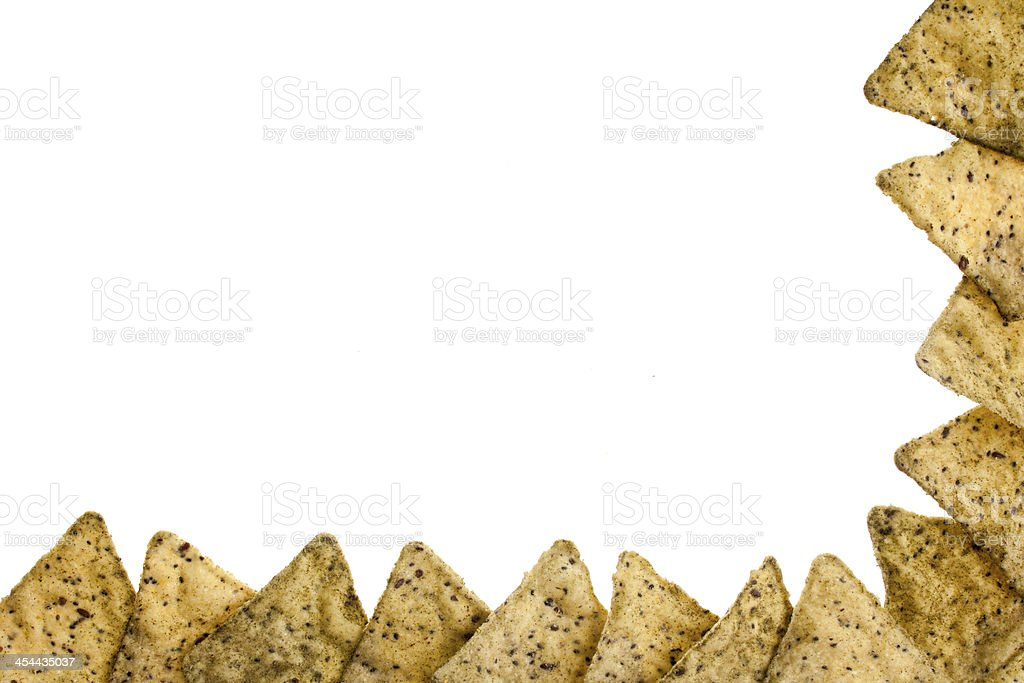corn chips along the bottom and right image border royalty-free stock photo